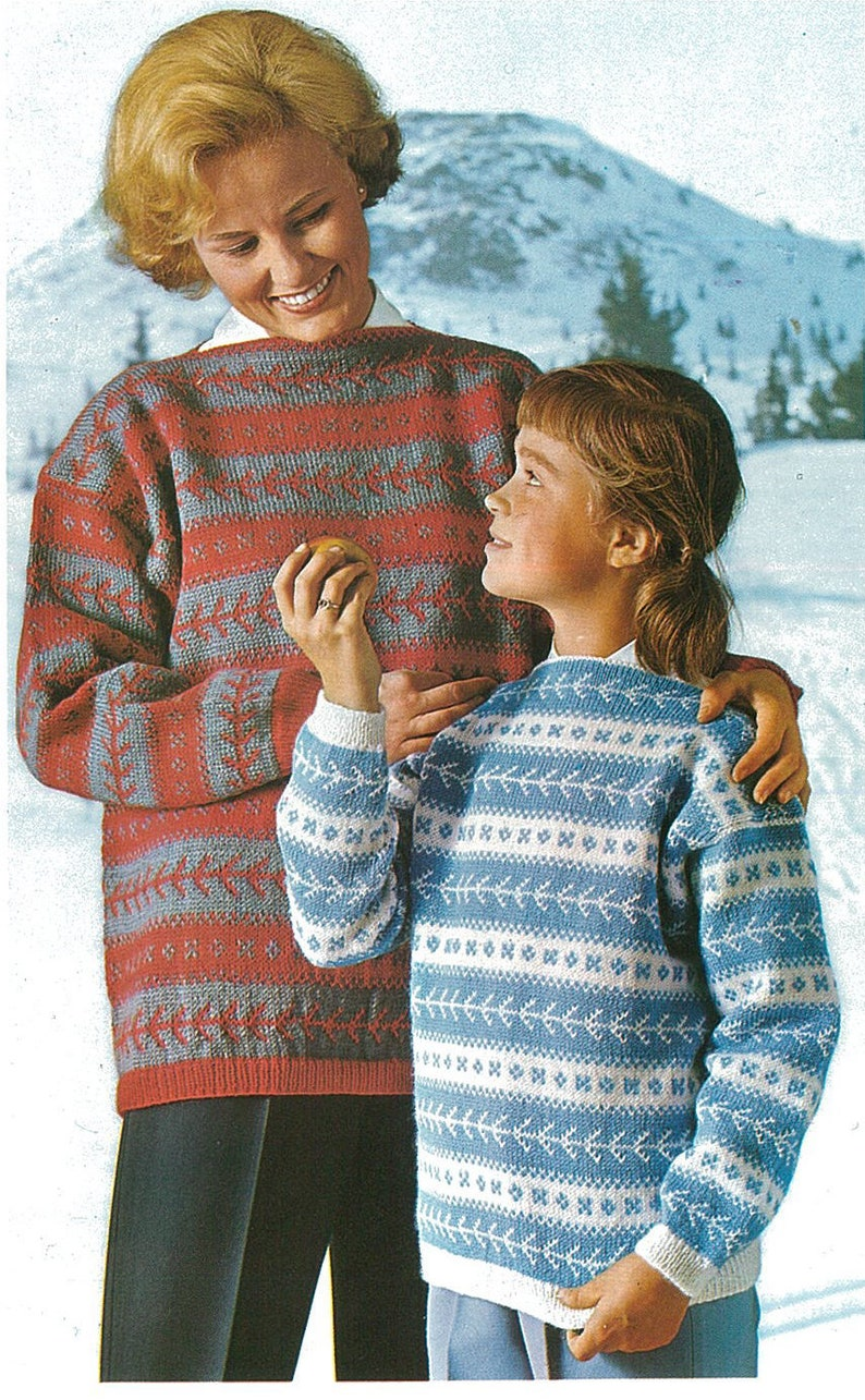 Vintage Nordic Norwegian Knitted Woman Or Girl S Sweater Etsy