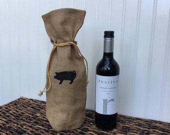 Pig Burlap Wine Bag