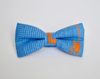 Blue and Orange Patterned Bow Tie