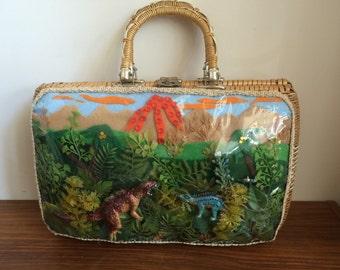 Wicker dinosaur basket purse