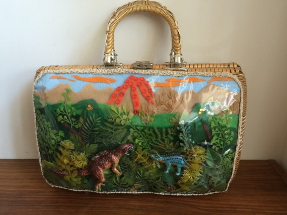Wicker dinosaur basket purse