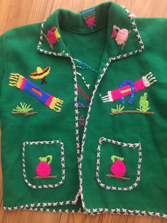Vintage Mexican wool kids jacket
