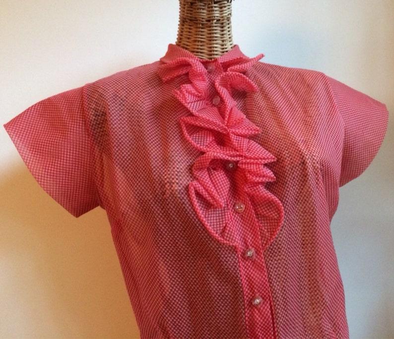 Vintage 50/'s sheer nylon tux ruffle cherry red checkered blouse