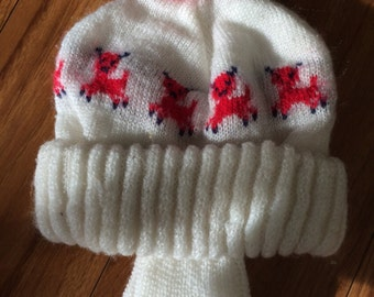 1960's Vintage infant snow hat with earflaps and red bunnies