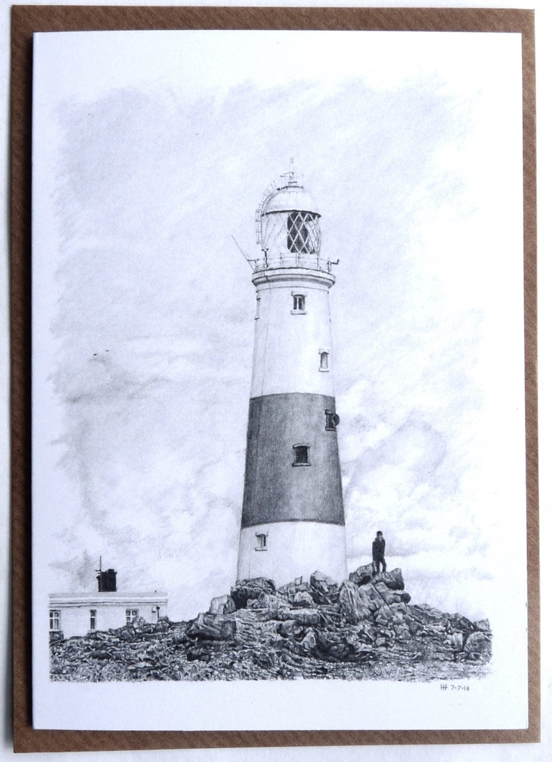 Greeting card  Portland Bill Lighthouse  landscape drawings image 0