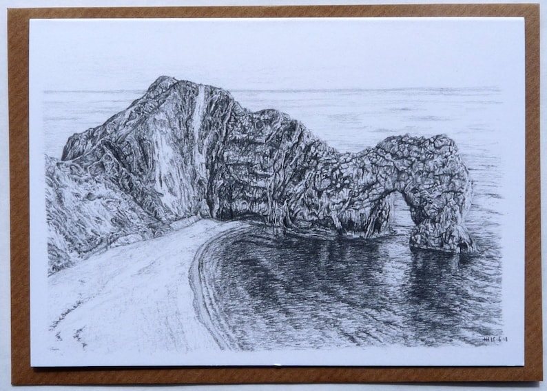 Greeting card  Durdle Door  landscape drawings  graphite image 0