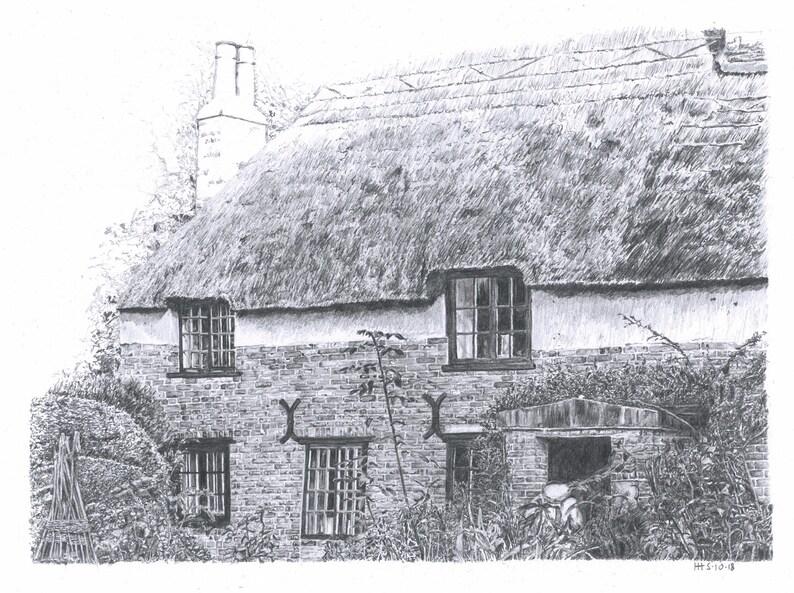 Original artwork  Thomas Hardys Cottage  historical image 0