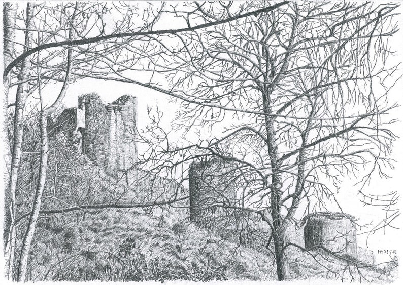 Original artwork  Corfe Castle Through the Trees  landscape image 0