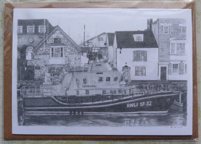 Greeting card  Weymouths Lifeboat  boat drawings  graphite image 0