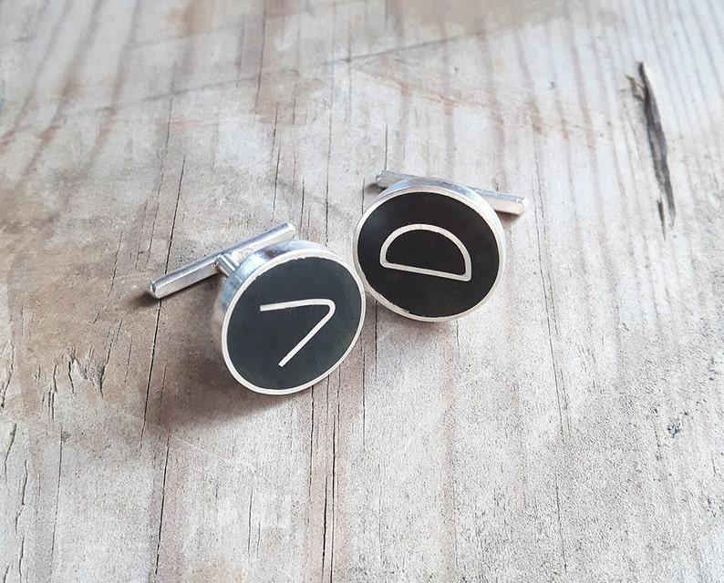 Initials minimal groomsmen monogram cuff links Personalized cuff links Sterling silver and black enamel groom cufflinks