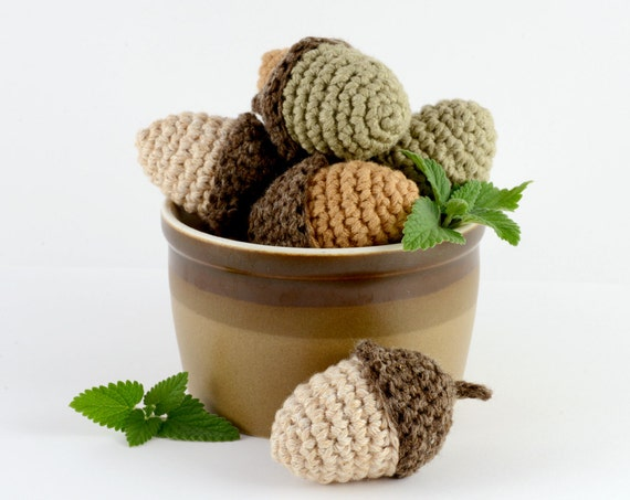 Catnip, Honeysuckle or Silvervine Acorn, Crocheted Cat Toy