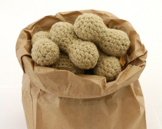 Catnip Stuffed Peanut, Crocheted Cat Toy Play Food