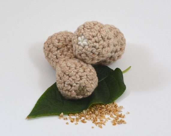 Cat Toy Mixed Nut, Crocheted Cotton Peanut with Choice of Fillings