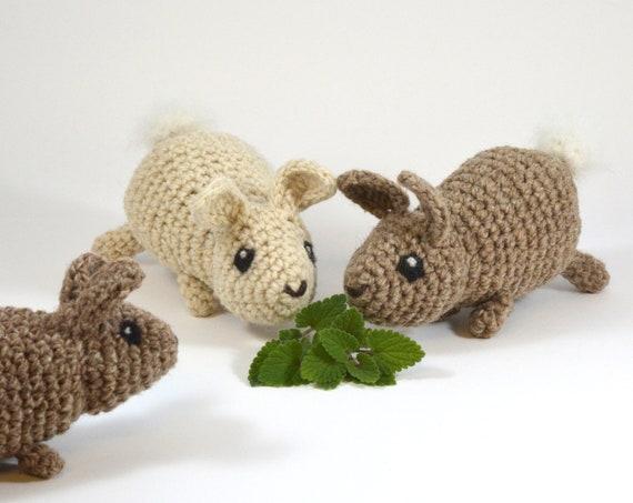 Baby Bunny Cat Toy, Crocheted Wool, Alpaca, Catnip and Magic Mix