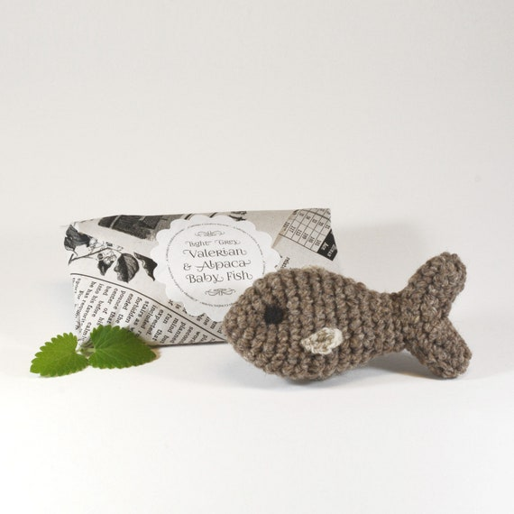 Baby Fish Cat Toy, Crochet Wool with Catnip, Valerian or Silvervine
