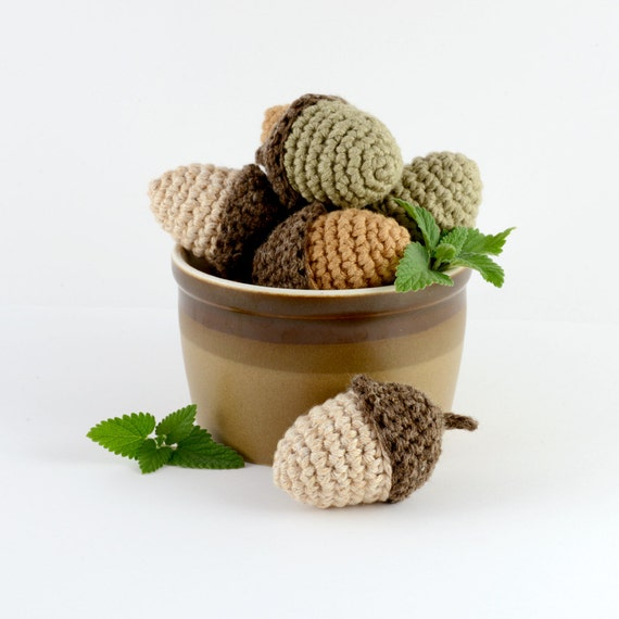 Crocheted Acorn Cat Toy with Catnip, Silvervine or Honeysuckle