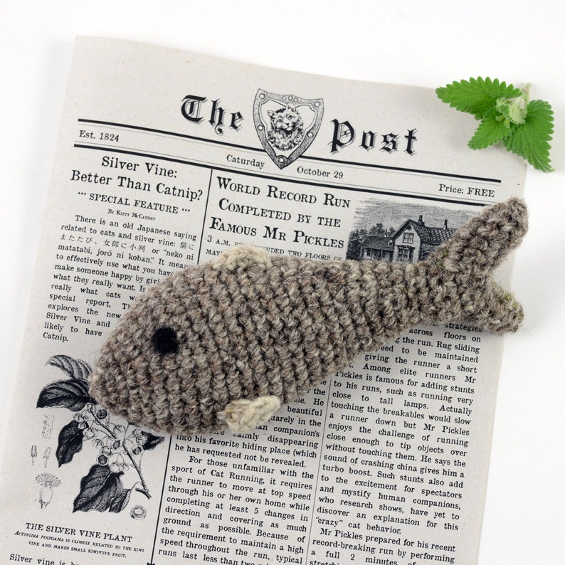 Cat Toy Fish Crochet Wool with Catnip Valerian or Silvervine image 0