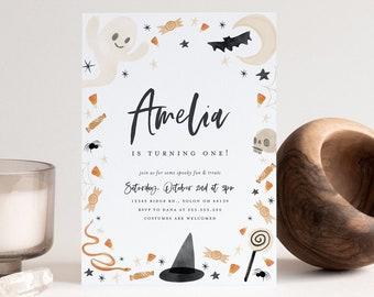 Halloween Birthday Invitation, Halloween Party Invitation, Trick, Treats, Spooky Treats, Editable Invitation, INSTANT DOWNLOAD