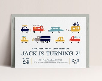 Transportation Birthday Invitation, Truck Birthday Invitation, Cars Birthday Invite, Truck and Cars Birthday, INSTANT DOWNLOAD