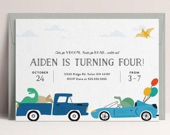 Dinosaurs and Trucks Birthday Invitation, Boy Birthday Invitation, Dinosaurs, Trucks, Cars, EDITABLE invitation, INSTANT DOWNLOAD