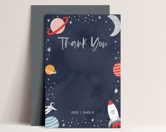 Space Thank You Card, Two the Moon Thank You Card, Space Birthday Thanks you, Rocket, Planets, Galaxy,  Editable Card,  INSTANT DOWNLOAD
