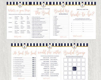 bridal shower games nautical bridal shower games digital printable files instant download 5x7