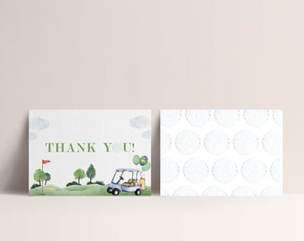 Golf Birthday Thank You Card, Hole in One, Masters Golf Thank You Car,  Hole-in-One Party, EDITABLE Thank you card,  INSTANT DOWNLOAD