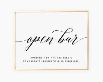Open Bar Wedding Sign | Wedding Signage | INSTANT DOWNLOAD (8x10)