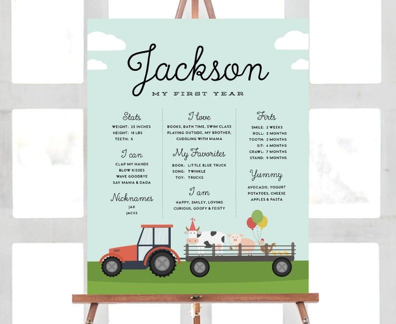 Milestone Sign Farm Animals Tractor Farm Birthday Stat Poster Stat Poster 16x20 Printable Customizable Digital File Milestone Board