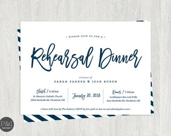 Rehearsal Dinner Invitation | Pink, Navy, Gold | ANY COLORS | Customized Digital Printable (5x7)