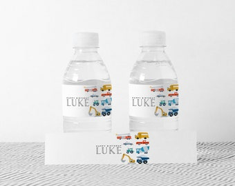 Transportation Water Bottle Label, Truck and Cars Birthday Decorations, Editable Water Bottle Label, INSTANT DOWNLOAD