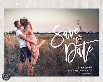 Photo Save the Date, Printable Wedding Save the Date Card, Save the Date Postcard | 5x7 Customizable Digital File