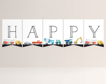 Transportation Flag Banner, Truck and Cars Bunting, Truck and Cars Birthday Decorations, Editable Flag Banner, INSTANT DOWNLOAD