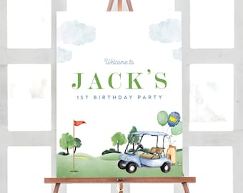 Golf Birthday Welcome Sign, Hole in One Welcome Sign, Masters Golf Welcome Sign, Hole-in-One Party, EDITABLE Sign, INSTANT DOWNLOAD