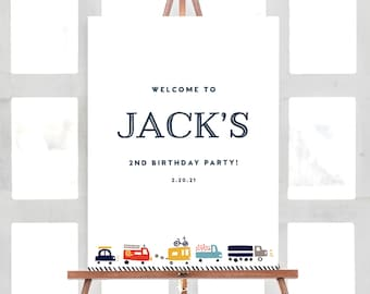 Welcome Sign, Transportation Birthday, Truck Birthday, Welcome Sign Cars Birthday, Truck and Cars Birthday, INSTANT DOWNLOAD