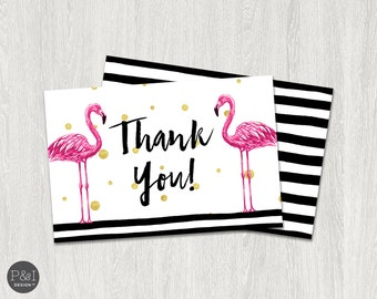 Flamingo Thank You Card | Instant Download (4x6 Folded)