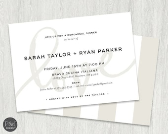 Rehearsal Dinner Invitation   Elegant and Modern   5x7   Blush Pink and Taupe