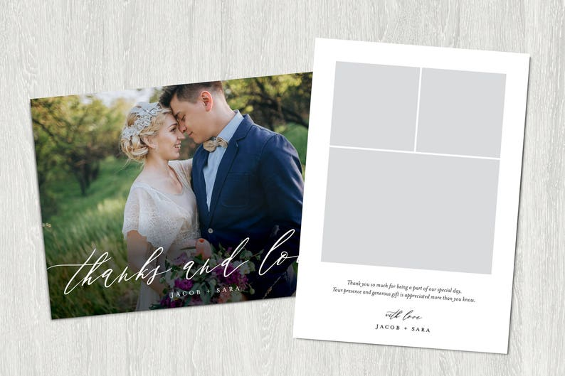 Wedding Thank You Card Thanks and Love Photo Thank You Card Printable Digital Customized File 5x7