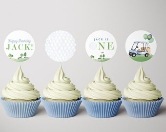 Golf Birthday Cupcake Toppers, Hole in One Toppers, Masters Golf Cupcake Toppers, Hole-in-One Party, EDITABLE Toppers, INSTANT DOWNLOAD