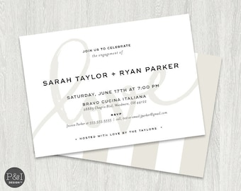 Engagement Party Invitation   Elegant and Modern   5x7   Blush Pink and Taupe