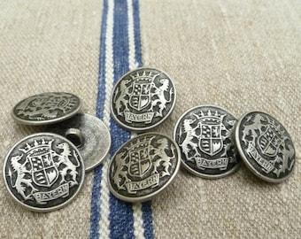 Bavarian heraldic buttons, antiqued silver colored, 2,2 cm, 0,87 inch, Bavarian lion, Octoberfest, Munich, Bavarian costume