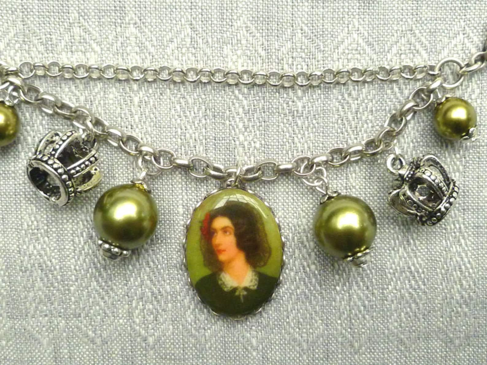 Dirndl chain, Charivari, Bavarian jewellry, 12 cm, antiqued silver colored, glass pearls, rosè, portrait of Munich girl, Dirndl, Octoberfest