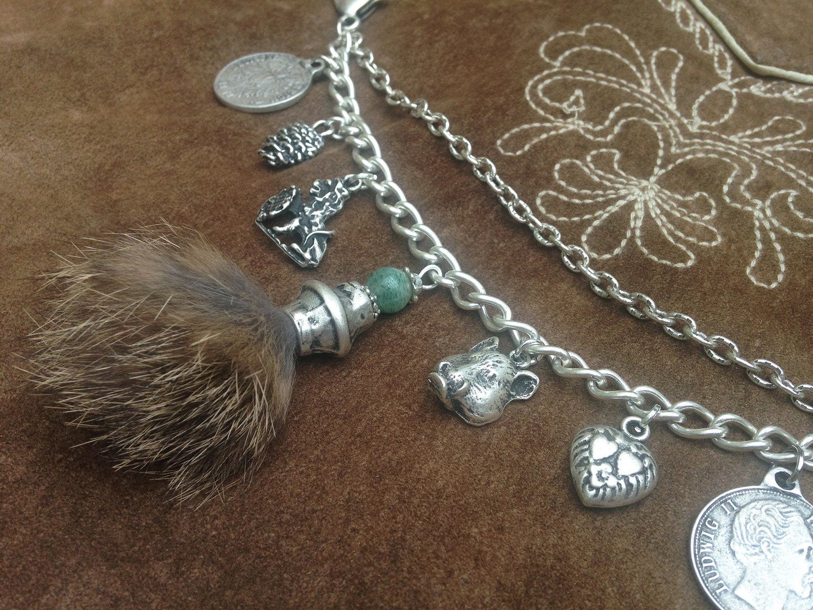 Bavarian Charivari chain, metall, antique silver colored, traditional Bavarian jewelry ,leather pants,