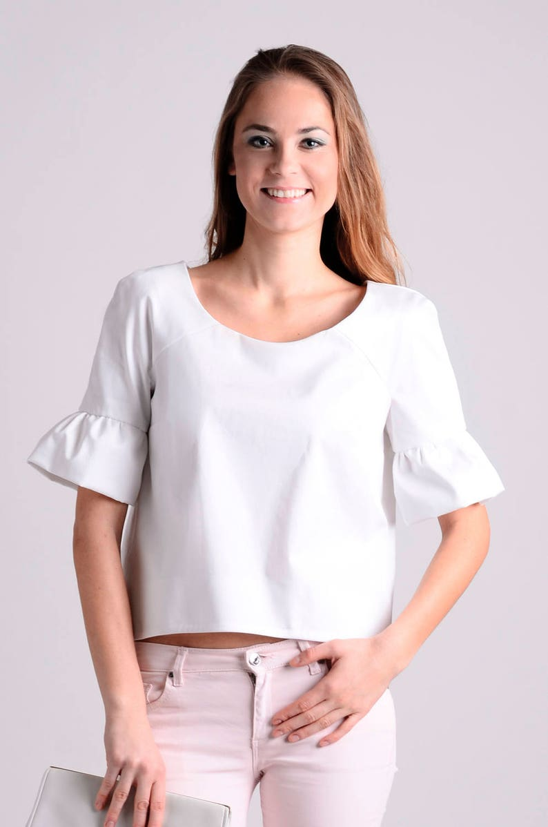 cb79a15e96f White elegant tailored crop top blouse / crop top / ruffle   Etsy