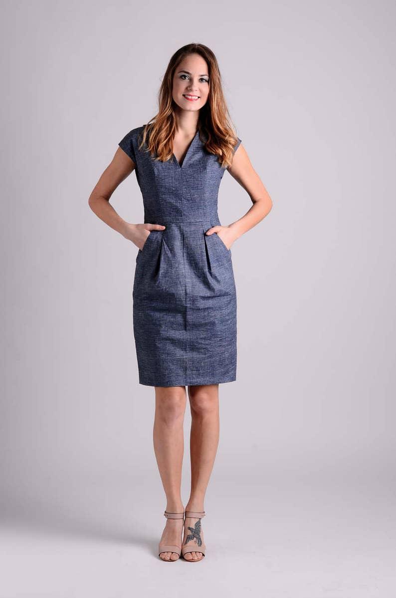 452e9d36057b Cotton elegant midi shift dress navy