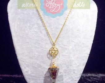 Moonstone Rose Pendulum Necklace
