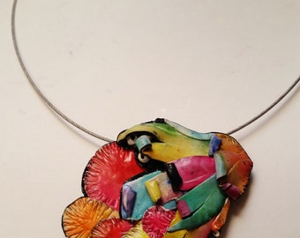 Polymer clay, pendant,