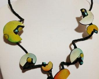 "Polymer clay, Surreal series, ""Suspended planets..."", necklace, unique, handmade, original design"
