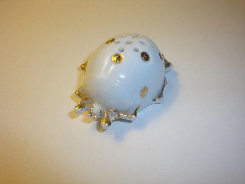 Vintage Beetle Ladybug Porcelain Insect Salt Shaker 1800/'s Victorian Antique White Porcelain Gold Accents Cork Bottom Rare Unique Piece