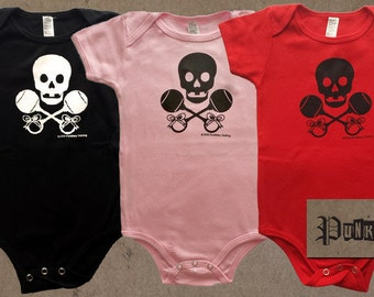 Punk Baby, Skull & Rattles Logo, hand screen printed, black, pink, or red, cotton infant onesie, for punk, pirate, or precious babies